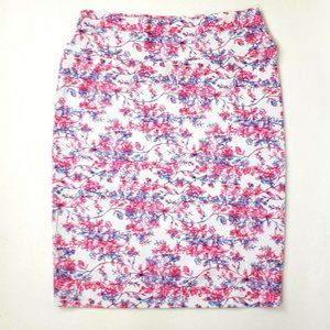 LULAROE Pink White Floral Cassie Skirt XL